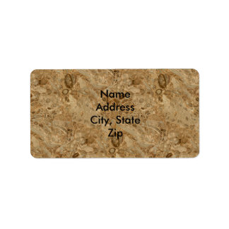 Fossil- Look för brun marmor Adressetikett