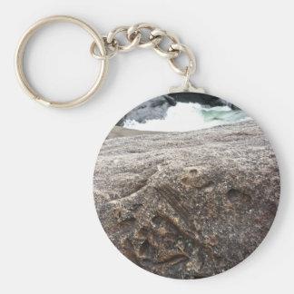 Fossil- sten rund nyckelring