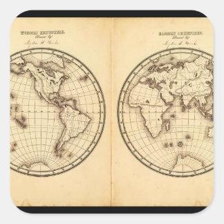 Fossil- världskarta 10_Maps av forntid Fyrkantigt Klistermärke