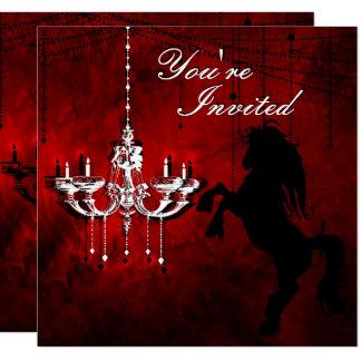 Fostra häst- och ljuskronafödelsedaginbjudan fyrkantigt 13,3 cm inbjudningskort