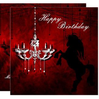 Fostra häst- och ljuskronagrattis på fyrkantigt 13,3 cm inbjudningskort