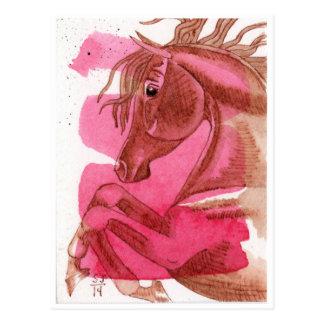 Fostra hästen på shock rosavattenfärg vykort