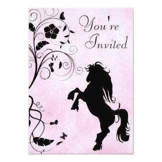 Fostra rosa födelsedaginbjudan för häst och för 12,7 x 17,8 cm inbjudningskort