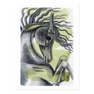 Fostra svart hästvattenfärg tvätta vykort