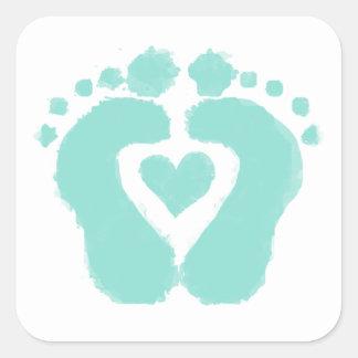 Fot för baby showergåvabebis fyrkantigt klistermärke