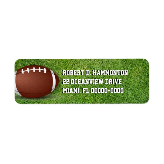 Fotboll i gräset returadress etikett