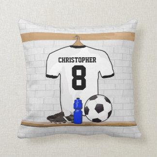 Fotboll Jersey för fotboll för personligvitsvart Kudde