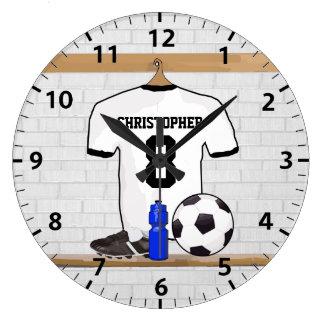 Fotboll Jersey för fotboll för personligvitsvart Stor Klocka