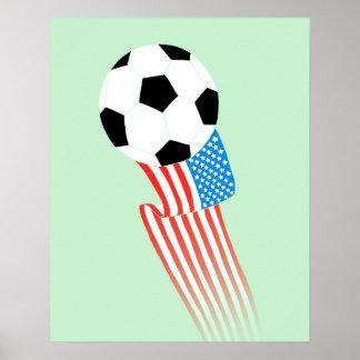 Fotbollaffisch: Gröna USA Poster