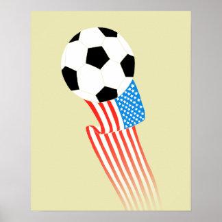 Fotbollaffisch: Guld- USA Poster