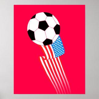 Fotbollaffisch: Röda USA Poster