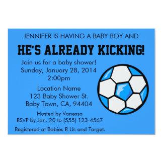 Fotbollbaby showerinbjudan, anpassade 11,4 x 15,9 cm inbjudningskort