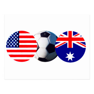Fotbollboll Australien & USA flagga MUSEET Zazzle Vykort