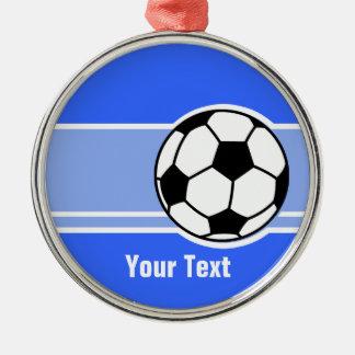 Fotbollboll; Blått Julgransprydnad Metall