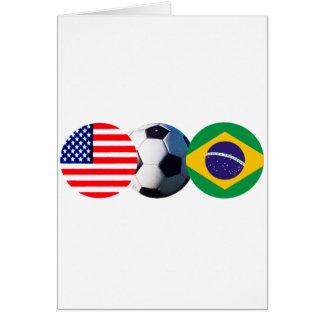 Fotbollboll Brasilien & USA flaggor MUSEET Zazzle Hälsningskort