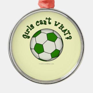 Fotbollboll i grönt rund silverfärgad julgransprydnad