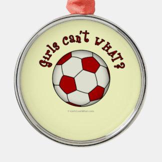 Fotbollboll i rött rund silverfärgad julgransprydnad