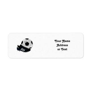 Fotbollboll och skor returadress etikett