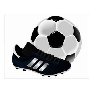 Fotbollboll och skor vykort