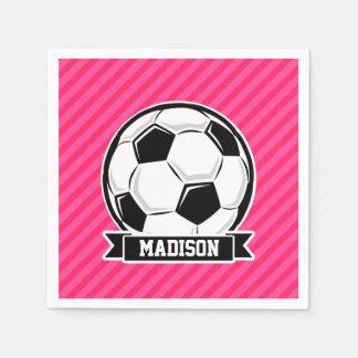 Fotbollboll på rosa randar för neon pappersservett