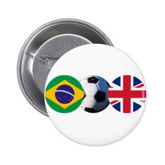 Fotbollboll UK & Brasilien sjunker jGibney MUSEET Standard Knapp Rund 5.7 Cm