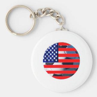 Fotbollboll & USA Flag2 den MUSEUMZazzle Viten-c Nyckel Ring