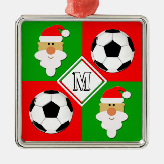 Fotbollbollar & initial beställnings- spelare för julgransprydnad metall