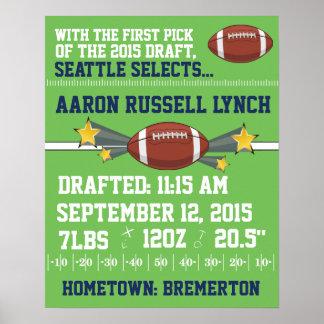 Football Birth Announcement - Team Poster