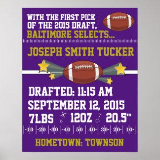 Football Birth Announcement - Purple& Gold Poster