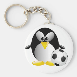Fotbollpingvin Keychain Rund Nyckelring