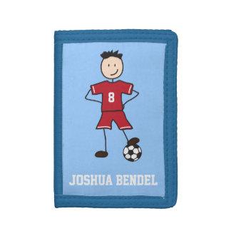 Fotbollspelarefotboll placerar pojkeplånboken