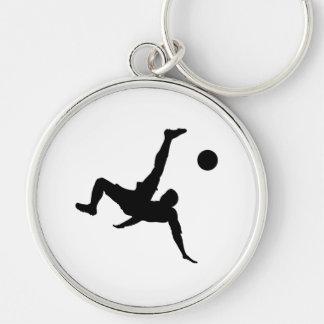 Fotbollsspelare Rund Silverfärgad Nyckelring