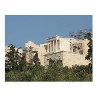 Foto av den forntida grekiska parthenonen från vykort