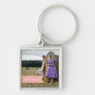 Foto för baner för bäst mammamors dagvit rosa fyrkantig silverfärgad nyckelring