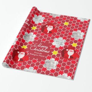 Foto för familj för jul för Santa stjärnamönster Presentpapper
