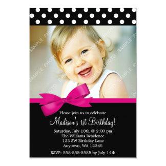 Foto för flicka för födelsedag för 12,7 x 17,8 cm inbjudningskort