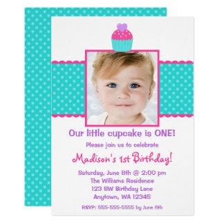 Foto för flicka för födelsedag för rosa 12,7 x 17,8 cm inbjudningskort