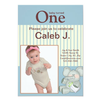 Foto för födelsedag för baby för elefantblåttrand 12,7 x 17,8 cm inbjudningskort