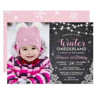 Foto för födelsedag för vinterONEderland flicka 12,7 X 17,8 Cm Inbjudningskort