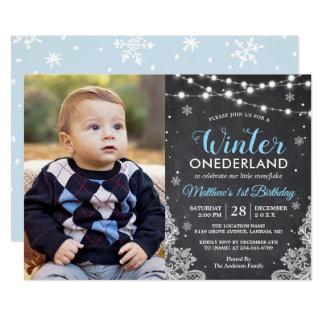 Foto för födelsedag för vinterONEderland pojke 12,7 X 17,8 Cm Inbjudningskort