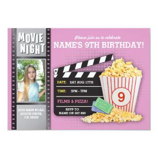 Foto för födelsedagsfest för bio för filmnatt rosa 12,7 x 17,8 cm inbjudningskort