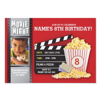 Foto för födelsedagsfest för bio för filmnatt rött 12,7 x 17,8 cm inbjudningskort