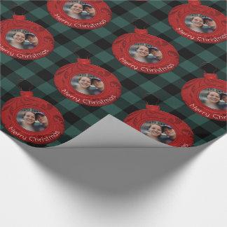 Foto för god jul för buffelplädgrönt rött presentpapper