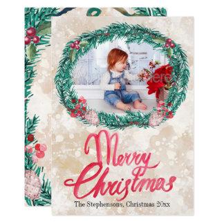 Foto för god jul för vattenfärggräskran 12,7 x 17,8 cm inbjudningskort