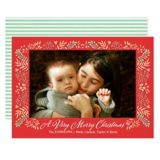 Foto för helgdag för god jullövverkram 12,7 x 17,8 cm inbjudningskort