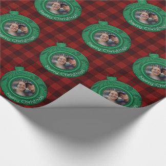 Foto för jul för lantlig buffelpläd rött grönt presentpapper