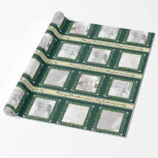 Foto för jul för Mistletoerapphönarandar grönt Presentpapper
