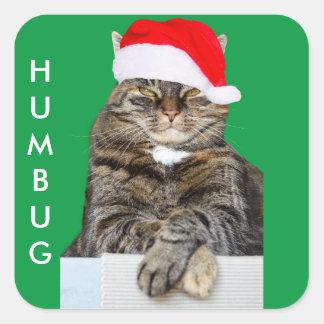 Foto för julkattHumbug med den Santa hatten Fyrkantigt Klistermärke