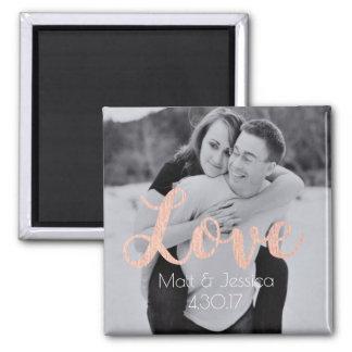 Foto för magnetbröllopFavör med rosa guld Magnet