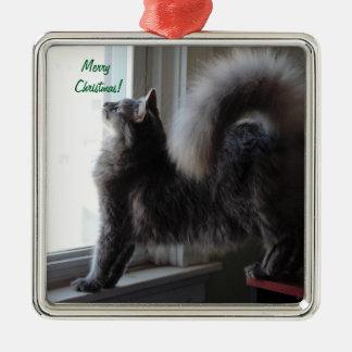 Foto för Maine Coonkatt Silverfärgad Fyrkantigt Julgransprydnad